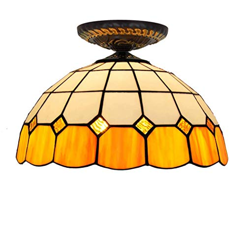 TTFFTT Tiffany-Art-orange Mittelmeer Deckenleuchten 12-Zoll-halb Erröten-Einfassung Anhänger Hängeleuchte Deckenleuchte für Schlafzimmer Wohnzimmer Flur