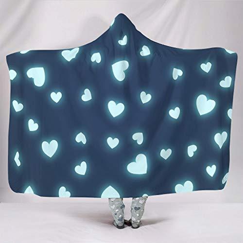 WellWellWell Manta de peluche con capucha para el día de San Valentín, diseño de corazón, para hombres y mujeres, color blanco, 150 x 200 cm