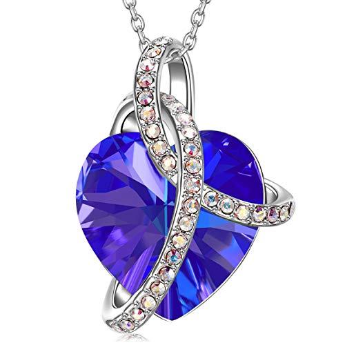 J.RENEÉ Collares Mujer, con Cristal de Swarovski, Joyas para Mujer, Colgantes Mujer, Amor Corazon Violeta