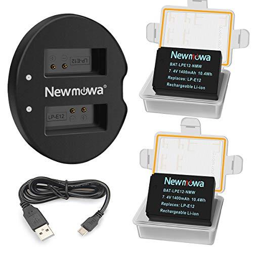 バッテリーパック Newmowa LP-E12 互換バッテリー 2個 + 充電器 セット Canon LP-E12 Canon EOS M M2 M10 M...