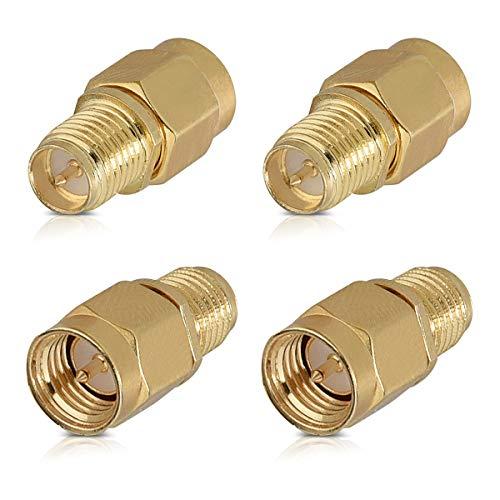 kwmobile Adaptador RP-SMA Macho a SMA Hembra - Conector para Cable coaxial y aéreo - para Antena Enchufe con Pin - Set de 4X Conectores