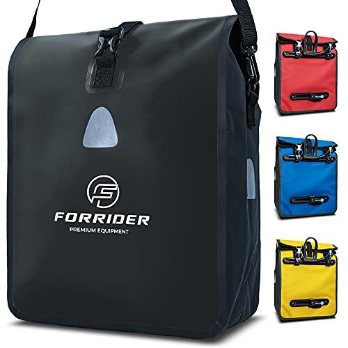 Forrider Fahrradtasche für Gepäckträger Wasserdicht Reflektierend I 22L Gepäckträgertasche   Sattel Tasche fürs Fahrrad zum Einkaufen, Touren (Schwarz)