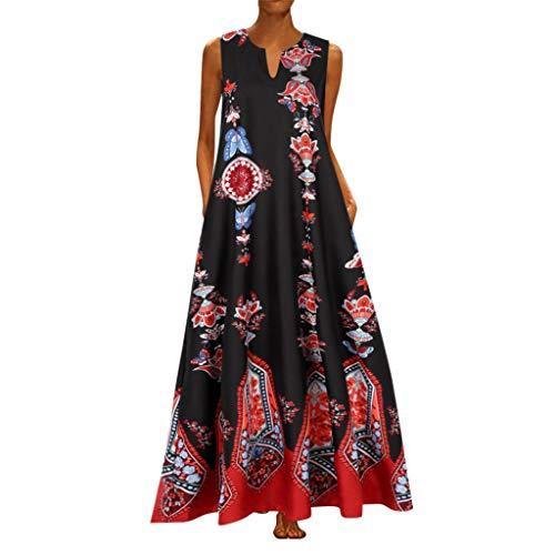 ZODOF vestidos mujer vestido bohemio mujer Casual Sin mangas Vendimia Cuello en V vestidos largos estampados estidos de fiesta largos/vestidos elegantes mujer/vestidos fiesta(L,Negro)