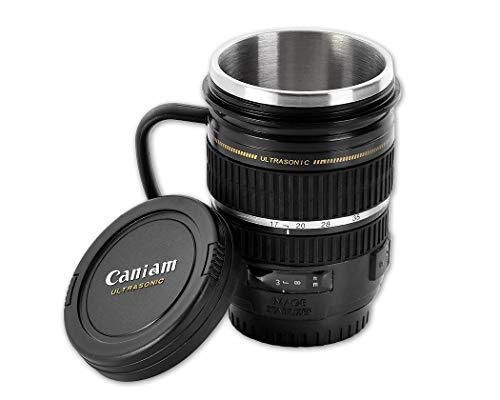 DSstyles Lente de la cámara taza personalizada taza de café taza de acero inoxidable taza térmica - negro