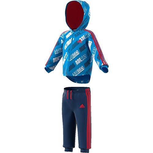 adidas Kinder Tracksuit I SHINY FZ HD J, blue/white, 1218M, FM6365