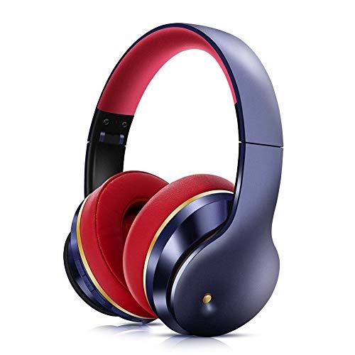NCRD Auriculares inalámbricos de cancelación de Ruido con micrófono, Auriculares Bluetooth inalámbricos para Orejas, Bajos Profundos, para Adultos, TV, Clase en línea, Oficina en casa (Color : Blue)