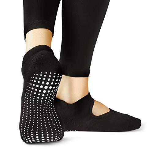 LA Active Calze Presa Antiscivolo Cotone - 1 Paio - Per Yoga Pilates Danza Sbarra - Ballet (Noire Black, 37-40 EU)