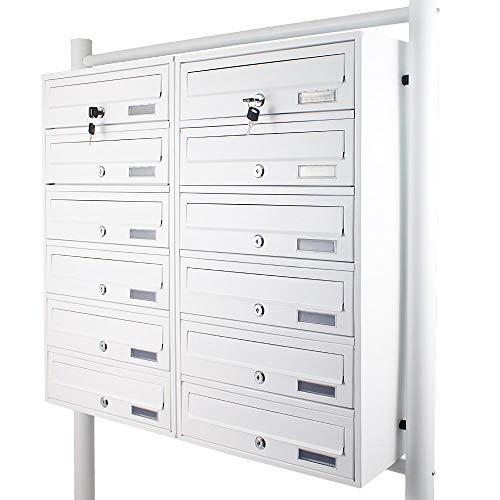 BITUXX® Stand-Briefkastenanlage Postkasten Letterbox Mailbox Doppelt mit 12 Fächer Weiß