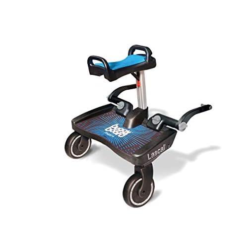 Lascal BuggyBoard Maxi+, Pedana passeggino universale con sellino incluso compatibile con quasi tutti i modelli, Pedana buggy board per bambini di 2-6 anni (22 kg), blu