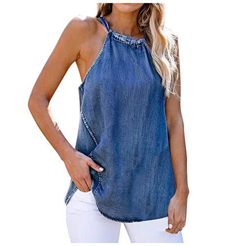 VEMOW Chaleco Camisola Chaleco de Vaqueros Delgado para Mujer Cuello Halter, Sexy Verano Elegante Béisbol Camiseta de Tirantes Informal Camisa de Deporte Moda Casual Fiesta Camisa Tops(A Azul,M)