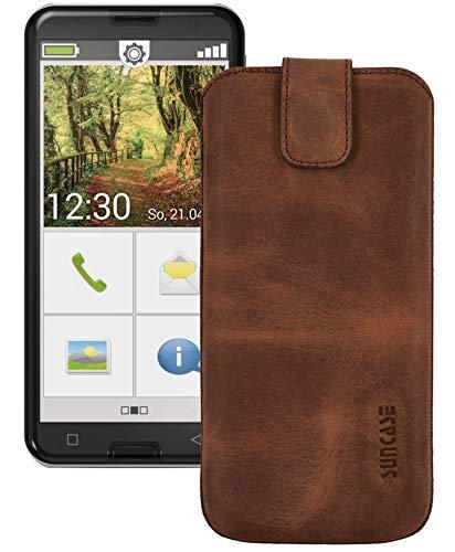 Suncase ECHT Ledertasche Leder Etui Tasche kompatibel mit Emporia Smart 3 Mini Hülle (mit Rückzugsfunktion & Magnetverschluss) antik-Coffee
