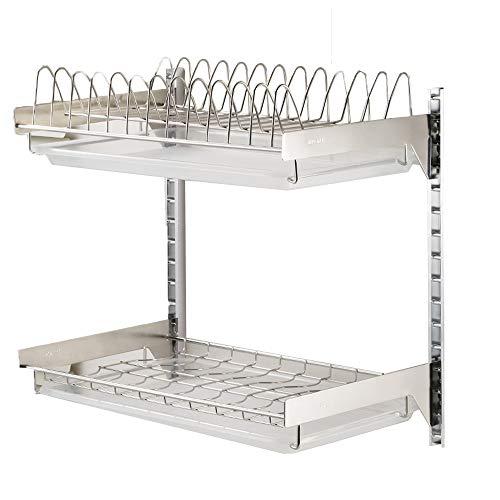 LBYMYB Estante de drenaje de acero inoxidable para colgar platos, bandeja de almacenamiento, estante de almacenamiento de cocina (tamaño: 42 x 27 x 60 cm)
