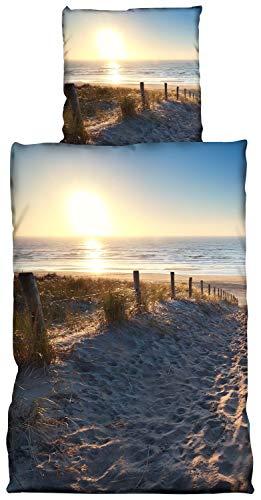 one-home 4 teilige Wende Bettwäsche 135x200 cm Strand mit Sonnenuntergang blau Sand Microfaser