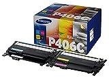 SAMSUNG CLT-P406C, SU375A - Cartuchos Tóner, de 4.500 Páginas, Compatible con Impresoras SAMSUNG Laserjet Color Serie CLP-365, CLX-3300 y CLX-3305, Negro, Cian, Magenta y Amarillo, Pack de 4