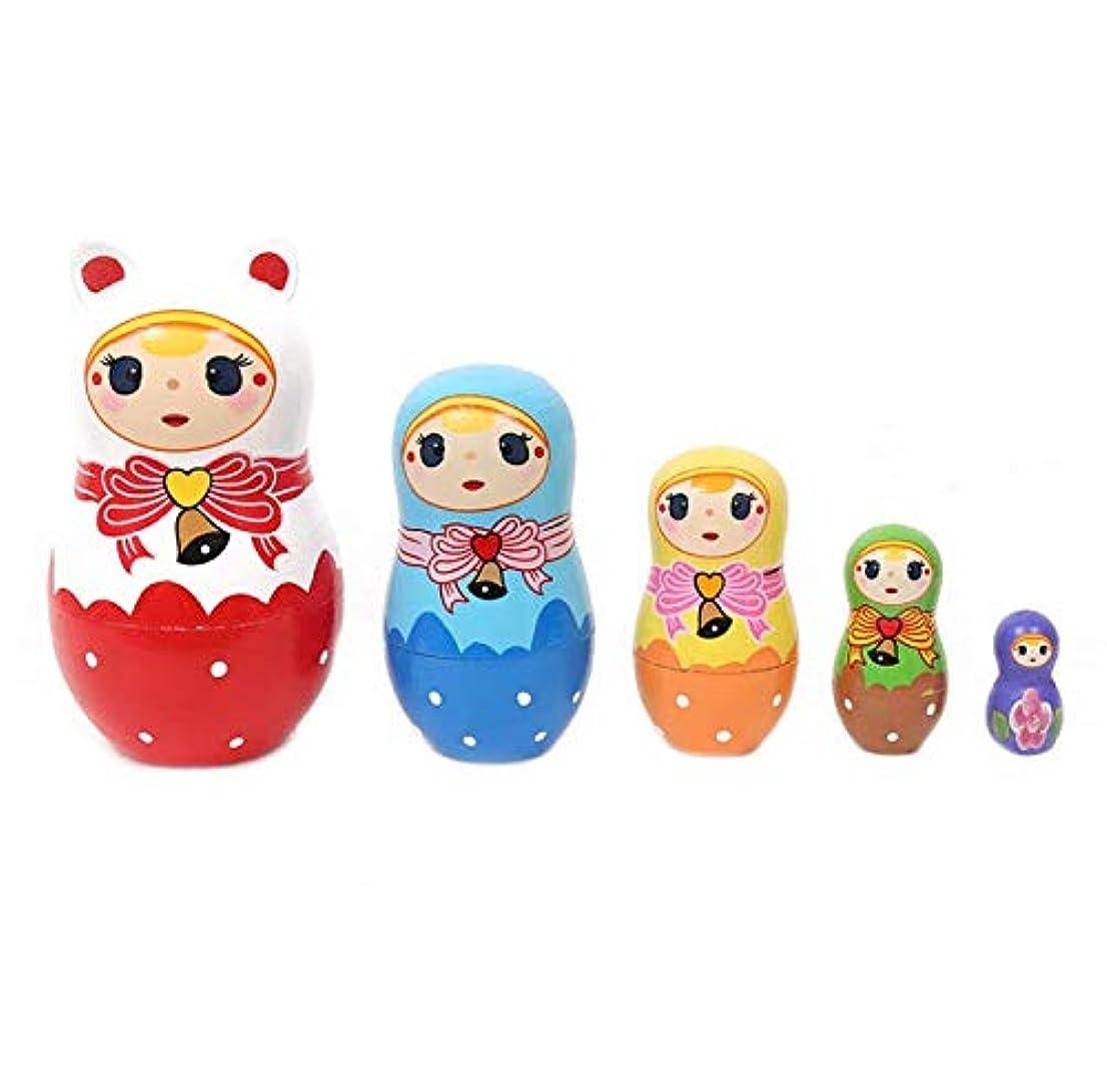 政策聖歌カラスVIDOO クリスマス工芸品ロシアマトリョーシカウッド5層ペイント人形子供教育玩具装飾品