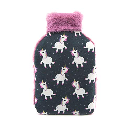 CASSANDRA Childrens Hot Water Bottle with Cover Gift Set. Luxury Faux Fur and Fleece,700ml (Unicorn/Sloth/Llama,Design may Vary)(Pack of 1)