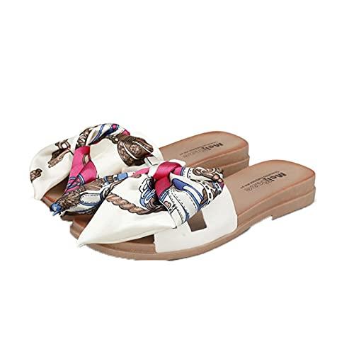 Zapatillas de playa para mujer, con lazo, para nadar, al aire libre, para piscina, deslizadores de baño, para el verano, para respirar, sandalias casuales para el hogar, zapatos