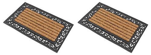 2x Eckige premium Fußmatte aus Gummi und Kokosfasern 76 x 46 cm ✓ 3,5 kg Fußabtreter verhindert verrutschen ✓ Robust & repräsentativ ✓ Schmutzfangmatte, Schmutzmatte, Fußabstreifer im Eingangsbereich