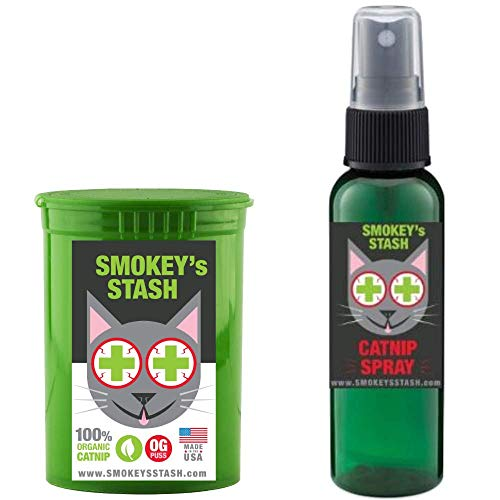 Smokey's Stash Cat Catnip Spray and Dried Organic Catnip Combo Maximum Potency cat nip Bundle
