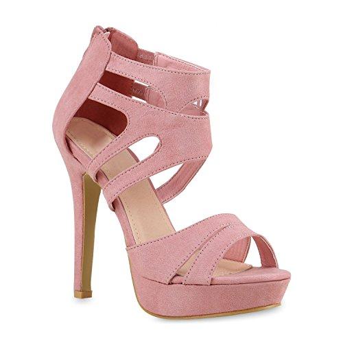 Damen Schuhe Sandaletten Plateau High Heels Cut-Outs Stilettos 130296 Rosa 35 Flandell