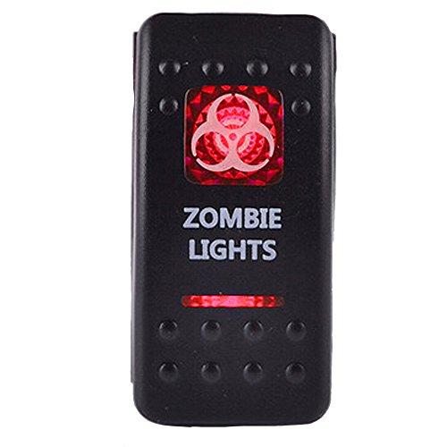 ESUPPORT Car Red LED Zombie Light Rocker Toggle Switch ON Off 12V 20A, 24V 10A