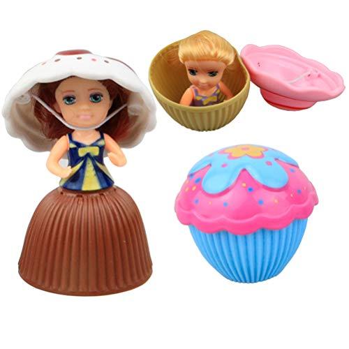 STOBOK 3 stücke Cupcake überraschung duftenden Prinzessin Puppe Mini Cupcake Prinzessin Puppe magische Geschenk Spielzeug für Babys (zufällige Farbe)