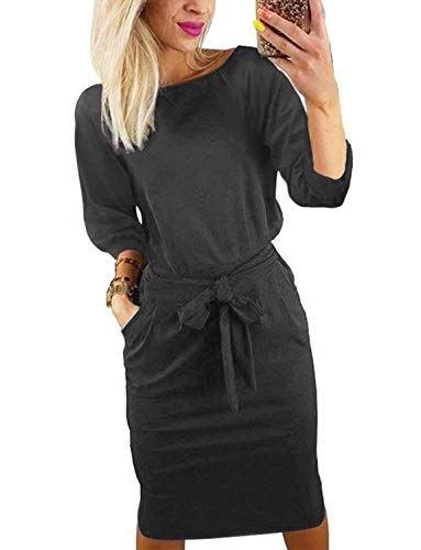 BB&KK Women's Pencil Dress with Pockets and Belt Long Sleeve Knee Length Elegant Business Casual Loose (Small,Gray)