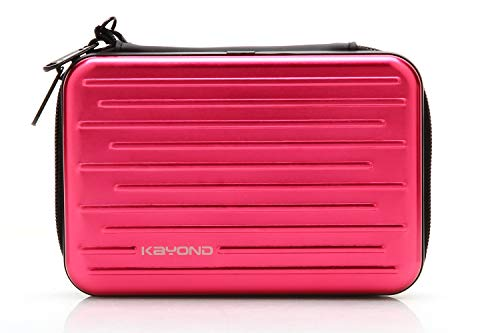 KAYOND Anti-Shock Silver Aluminium Carry Travel Protective Storage Case Bag for 2.5 Inch Portable External Hard Drive HDD USB 2.0/3.0 (Red)