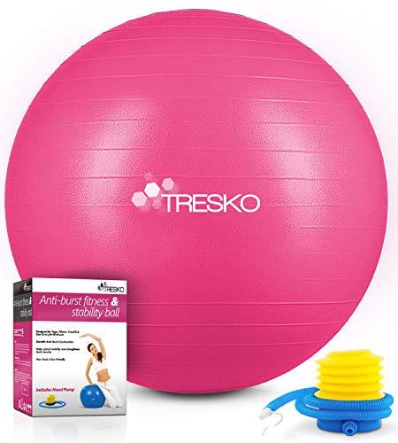 TRESKO Gymnastikball mit GRATIS Übungsposter inkl. Luftpumpe - Yogaball BPA-Frei | Sitzball Büro | Anti-Burst | 300 kg,Rosa,65cm (für Körpergröße 155 - 175cm)