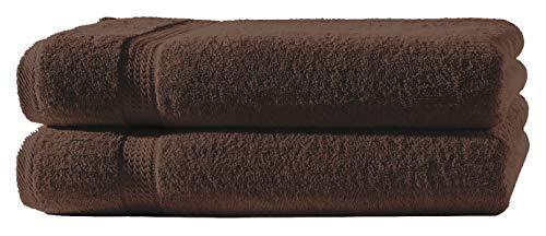 one-home 2 Duschtücher braun 70x140 cm Set Baumwolle Frottee Duschtuch Frottiertuch groß