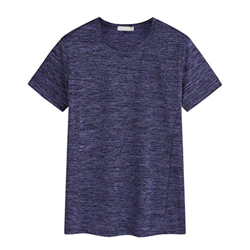 T-Shirt Sannysis Herren Sommer T-Shirt Rundhals-Ausschnitt Slim Fit Baumwolle|Solid Color Sport Hemd Sweatshirt