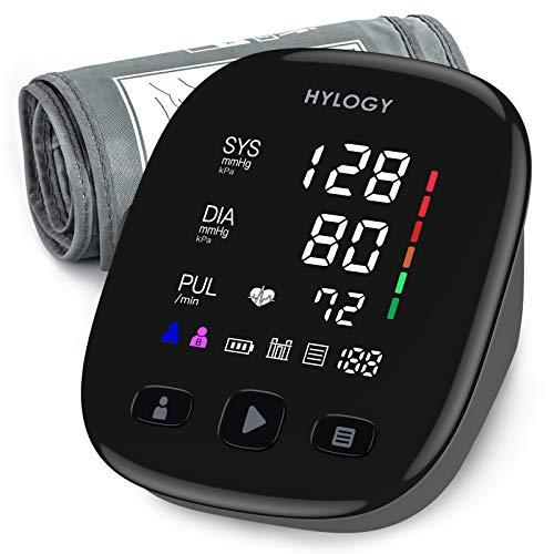 Blutdruckmessgerät Oberarm, HYLOGY Digital Vollautomatisch Blutdruckmessgerät und Pulsmessung, Großes LED Display und Große Manschette, 2x90 Dual-User-Modus, USB