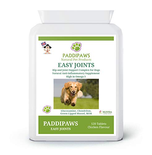 Paddipaws Easy Joints - Dog Joint Care Supplements - High Strength - 120 tablets - Hip and Joint supplement for dogs - Stiff and Older Dogs - Working Dogs - Powerful Proven Natural Active Ingredients.