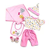 Anano Pink Panda Clothes Lovely Baby Outft Fit for Reborn Baby Dolls 18-22 inch Newborn Girls and Boys 6 Sets Plush Toy&Magnetic Pacifier Accessories