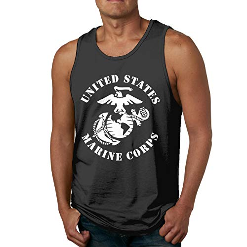 Cuteove USMC-Eagle US Marines Men\'s Tank Top Sleeveless Tees Sports T Shirt Fitness(XL,Black)
