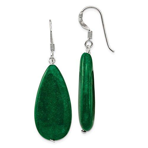 Pendientes colgantes de plata de ley 925 con jade verde oscuro (longitud: 48 mm; ancho: 15 mm)