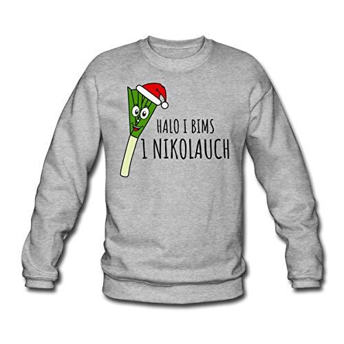 Halo 1 Nikolauch Ugly Christmas Sweater Spruch Unisex Pullover, M, Weißgrau meliert