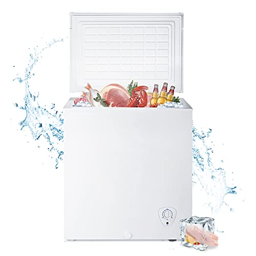 Smad Chest Freezer 5 cu ft Mechanical Control with Removable Basket Top Open Door Deep Freezer, 6.8℉ to -4℉, Free Standing, White