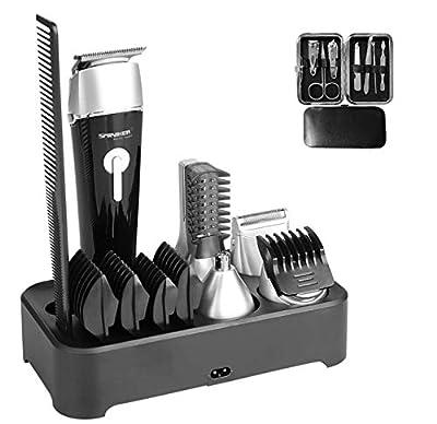 Sminiker Waterproof Beard Trimmer Kit for Men 5 in 1 Cordless Body Groomer Kit of Mustache Trimmer Nose Hair Trimmer Precision Trimmer