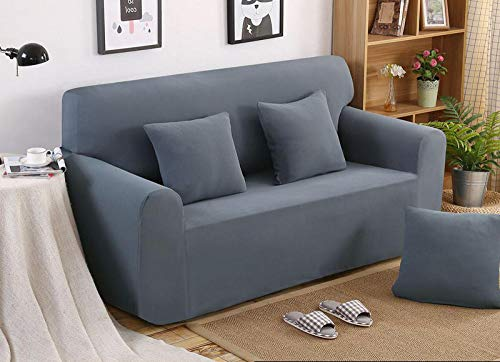 Allenger Funda de sofá Antideslizante,Funda de sofá Gruesa de Color sólido de Punto elástico, Funda de sofá a Prueba de Polvo, cojín de sofá Completo-Azul Gris_235-300cm