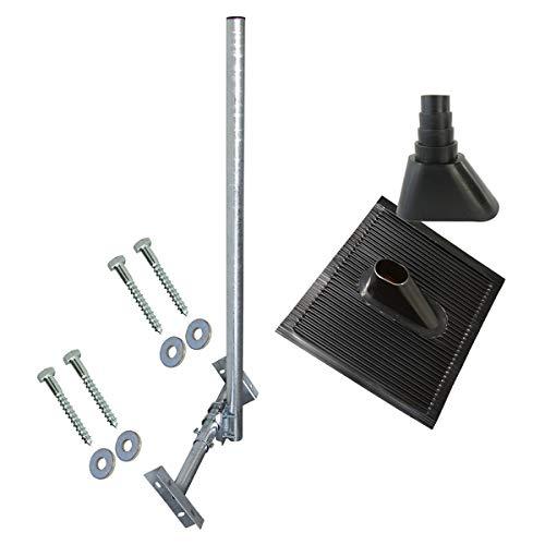 PremiumX Basic X120-48F SAT TV Dachsparrenhalter komplett feuerverzinkt 120cm Mast Aufdach Sparren-Halterung für Satellitenschüssel + UKW LTE-Antenne | Dach Montage-Set schwarz