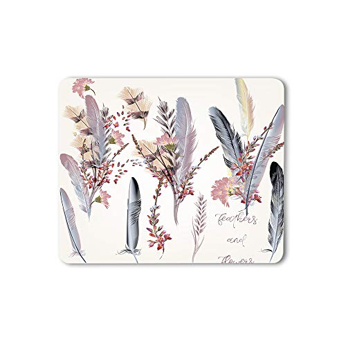 Moslion Feather Mouse Pad Fashion Flower Nature Pastel Wedding Animal Stylish Romantic Gaming Mouse Mat Non-Slip Rubber Base Thick Mousepad for Laptop Computer PC 9.5x7.9 Inch