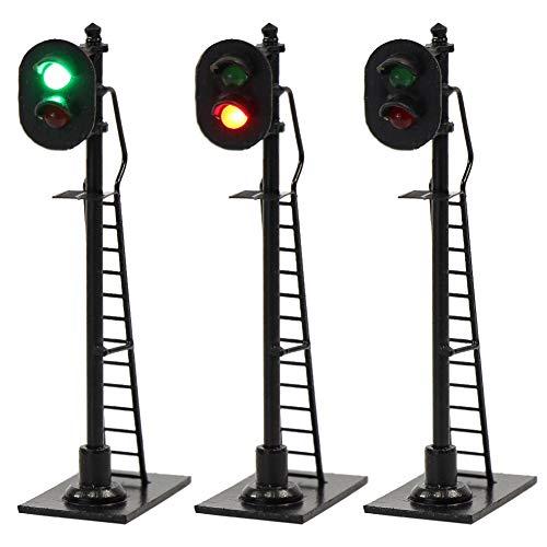 JTD878GR 3PCS Model Railroad Train Signals 2-Lights Block Signal HO Scale 12V Green-Red Traffic Lights for Train Layout New