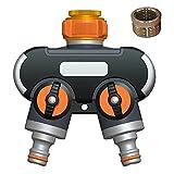 Distributore 2 Vie 3/4' und 1/2' Splitter Tubo da Giardino con Adattatore Attacco Rapido Acqua per Acqua Timer e Tubo da Giardino Rubinetto Giardino