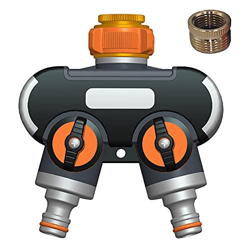 Distribuidor de 2 Vías Distribuidor Grifo Jardin Conector Manguera Válvula de Doble Salida para Grifo 3/4' y 1/2' Adaptador Manguera Grifo para Riego de Jardín