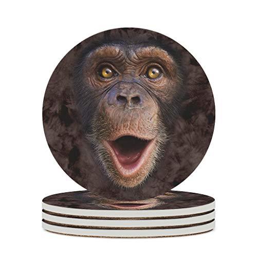 Haythan Posavasos de cerámica con cara de orangután, base de corcho de cerámica duradera, divertido – para salón blanco, 4 unidades