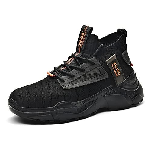 XIDISO Zapatillas Casual Hombre Running Zapatos Moda Sneakers Deportivas Gimnasio 45 Negro