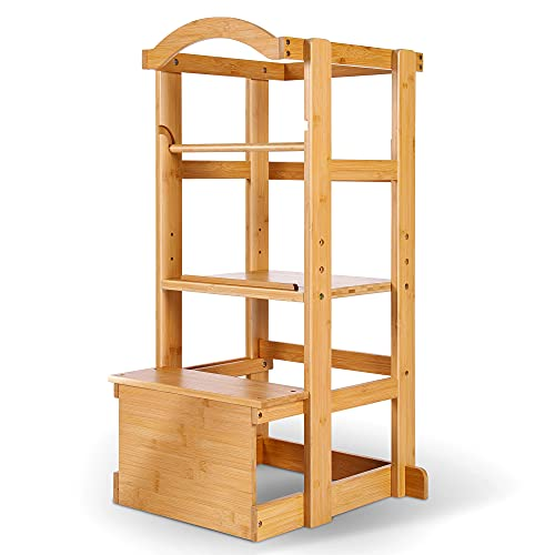 IPOW Learning Stool Toddler Tower, Adjustable Height Kids Step Stool - Bamboo Kitchen Bathroom Counter Helper Montessori Stool Learning Furniture Standing Baking Tower with Safety Rail