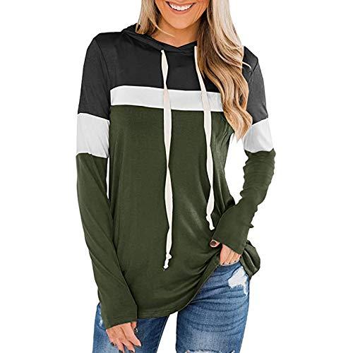 Sudadera de manga larga para mujer, con cuello redondo, con capucha, color bloqueado con cordones, suéter oversize Tops