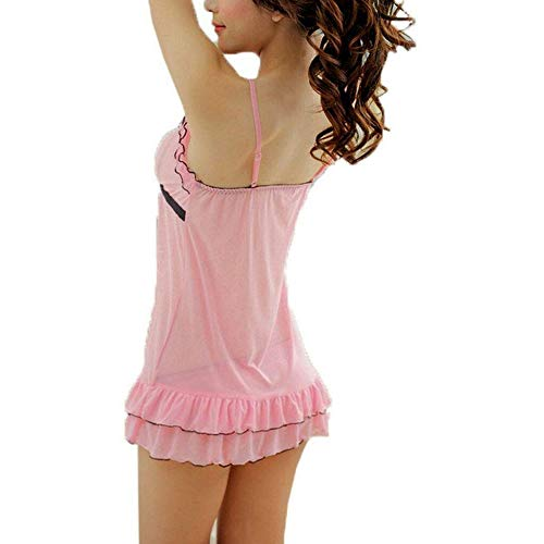 KITTYBEES Women's Net Above knee Babydoll Nightwear Dress with G-String Panty (KB-L10-Pink_Pink)